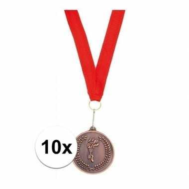 Goedkope x bronzen medailles derde prijs aan rood lint