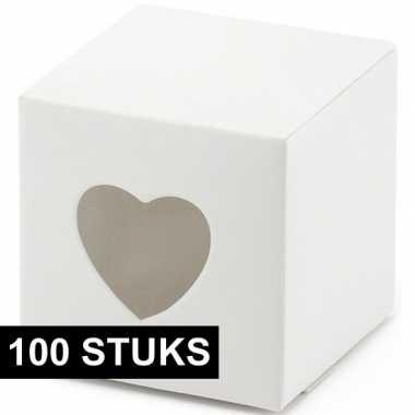 Goedkope x bruiloft/huwelijk bedankjes doosjes wit/hart