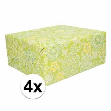 Goedkope x cadeaupapier groen bloemen rol