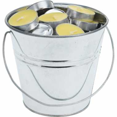 Goedkope x citronella waxinelicht zinken emmer