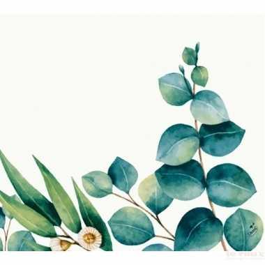 Goedkope x design servetten eucalyptus wit/groen