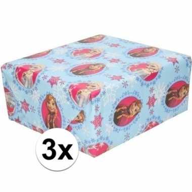 Goedkope x disney inpakpapier/cadeaupapier frozen lichtblauw