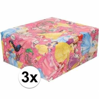 Goedkope x disney inpakpapier/cadeaupapier princess roze rol