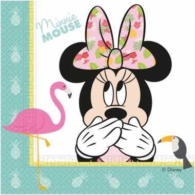 Goedkope x disney minnie mouse tropical themafeest servetten
