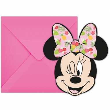 Goedkope x disney minnie mouse tropical themafeest uitnodigingen