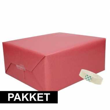 Goedkope x donker rood kraft inpakpapier rolletje plakband pakket