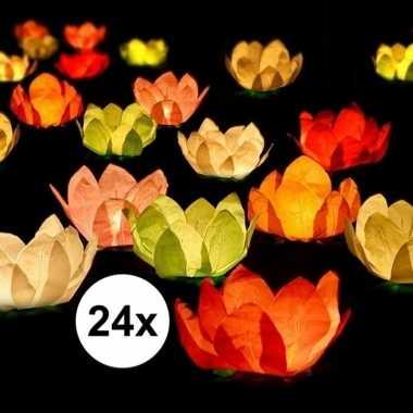 Goedkope x drijvende kaarsen/lantaarns bloemen gekleurd papier