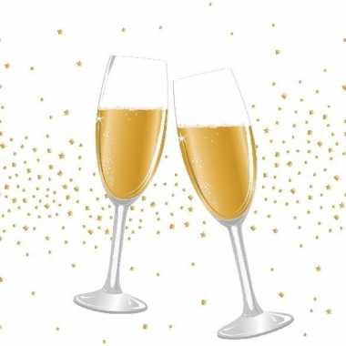 Goedkope x feest/jubileum servetten champagne proost