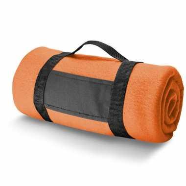 Goedkope x fleece dekens/plaids oranje afneembaar handvat
