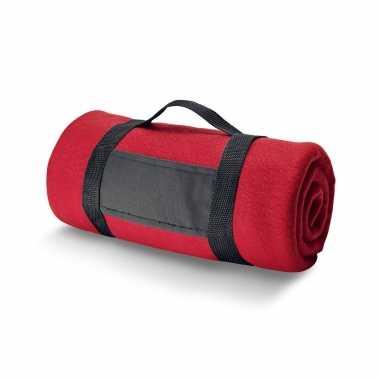 Goedkope x fleece dekens/plaids rood afneembaar handvat
