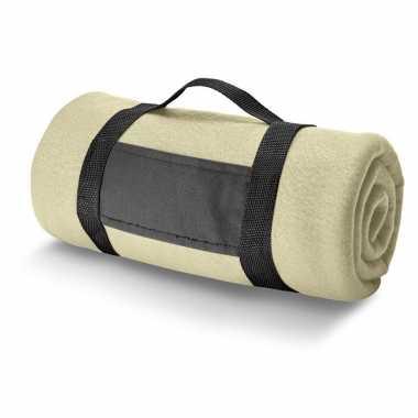 Goedkope x fleece dekens/plaids zandkleurig afneembaar handvat