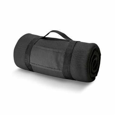 Goedkope x fleece dekens/plaids zwart afneembaar handvat