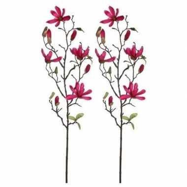 Goedkope x fuchsia roze magnolia/beverboom kunsttak kunstplant