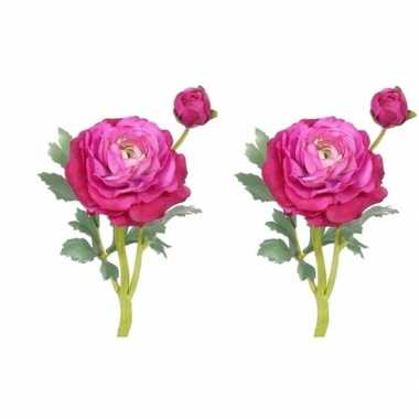 Goedkope x fuchsia roze ranonkel kunstbloemen binnen