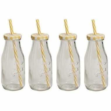 Goedkope x geel/witte glazen drink flesjes rietje