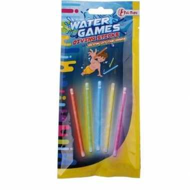 Goedkope x gekleurde glow the dark duikstaafjes/opduik speelgoed