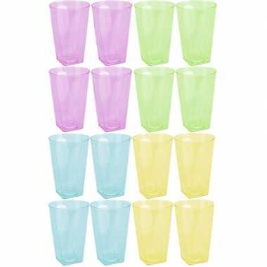 Goedkope x gekleurde plastic waterglazen