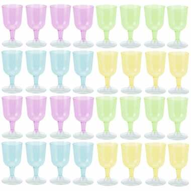 Goedkope x gekleurde plastic wijnglazen