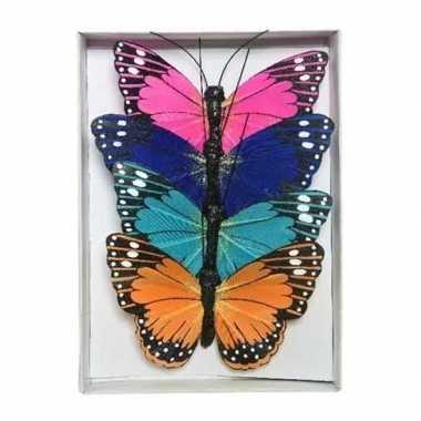 Goedkope x gekleurde vlinders draad decoratie