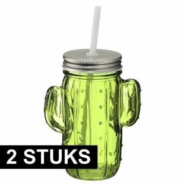 Goedkope x glazen cactus drinkpotje/drinkglas deksel groen