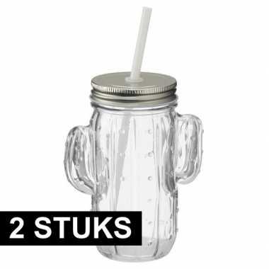 Goedkope x glazen cactus drinkpotje/drinkglas deksel