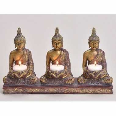 Goedkope x goud boeddha beeldjes waxine/theelicht houder