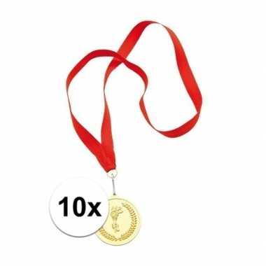Goedkope x gouden medailles eerste prijs aan rood lint