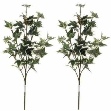 Goedkope x groen/geelbonte hedera/klimop kunsttak kunstplant