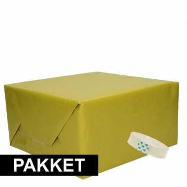 Goedkope x groen kraft inpakpapier rolletje plakband pakket
