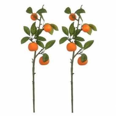 Goedkope x groen/oranje sinaasappelboom fruitboom kunsttak kunstplant