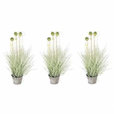 Goedkope x groene allium/sierui kunstplanten zinken pot