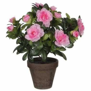 Goedkope x groene azalea kunstplant roze bloemen pot stan grey