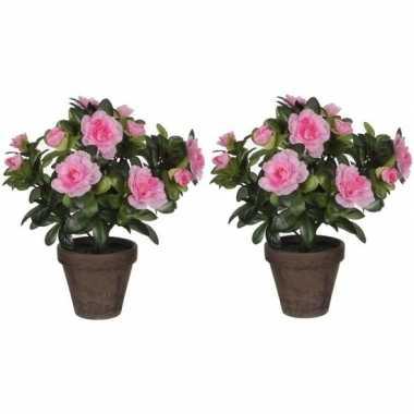 Goedkope x groene azalea kunstplanten roze bloemen pot
