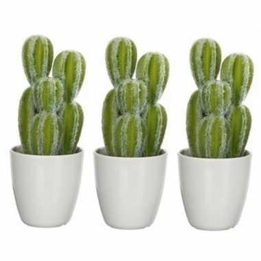 Goedkope x groene euphorbia/cowboycactus kunstplanten witte pot