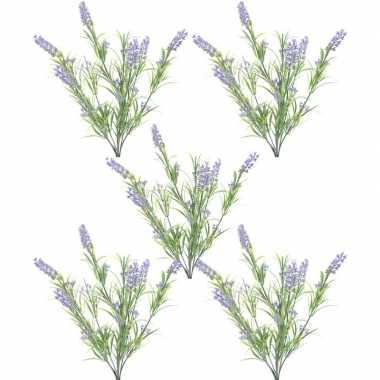 Goedkope x groene/lilapaarse lavandula/lavendel kunstplanten bosje