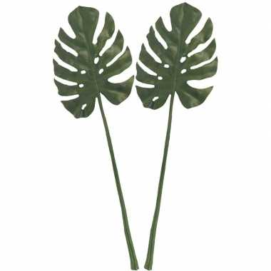 Goedkope x groene monstera/gatenplant blad kunsttak kunstplant