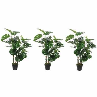 Goedkope x groene monstera/gatenplant kunstplant zwarte pot