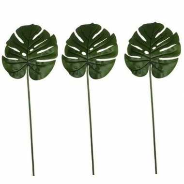 Goedkope x groene monstera/gatenplant kunsttak kunstplant