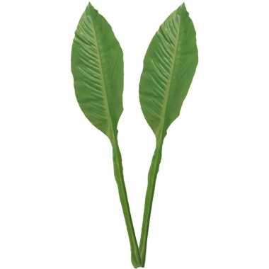 Goedkope x groene musa/bananenplant blad kunsttak kunstplant