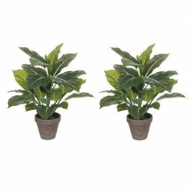 Goedkope x groene philodendron kunstplanten grijze pot