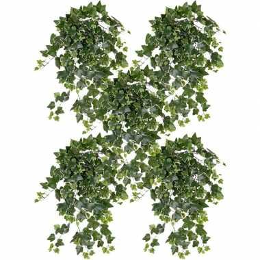 Goedkope x groene/witte hedera helix/klimop kunstplant buiten