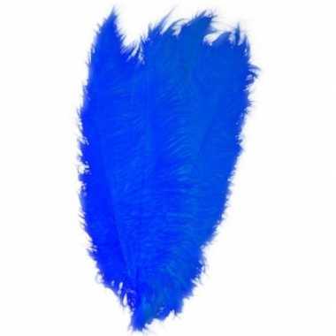 Goedkope x grote decoratie veren/struisvogelveren blauw