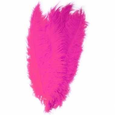Goedkope x grote decoratie veren/struisvogelveren fuchsia roze