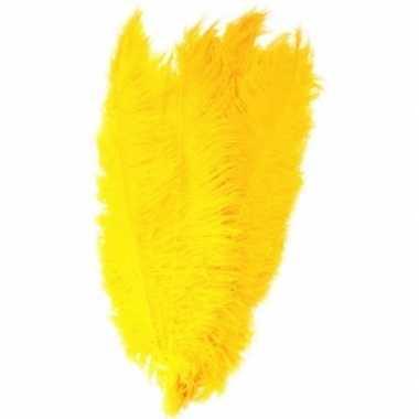 Goedkope x grote decoratie veren/struisvogelveren geel