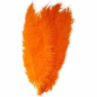 Goedkope x grote decoratie veren/struisvogelveren oranje