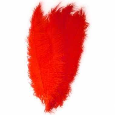 Goedkope x grote decoratie veren/struisvogelveren rood