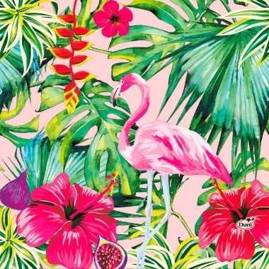 Goedkope x hawaii thema servetten flamingo roze/groen