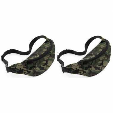 X heuptasjes/buideltasjes camouflage/leger goedkope