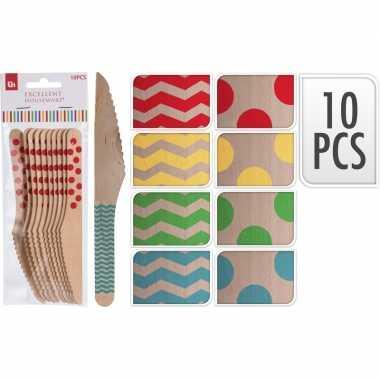 Goedkope x houten duurzame wegwerp messen rode zigzag strepen