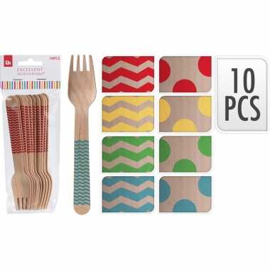 Goedkope x houten duurzame wegwerp vorken blauwe stippen